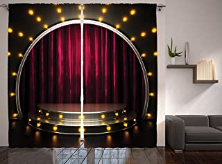 Ambesonne Theatre Curtains, Stage Arts Drapes Curtains Illustration Music Play Acting Print Print, Living Room Bedroom Window Drapes 2 Panel Set, 108