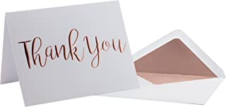 Thank You Cards - 20 Pack - Rose Gold Foil