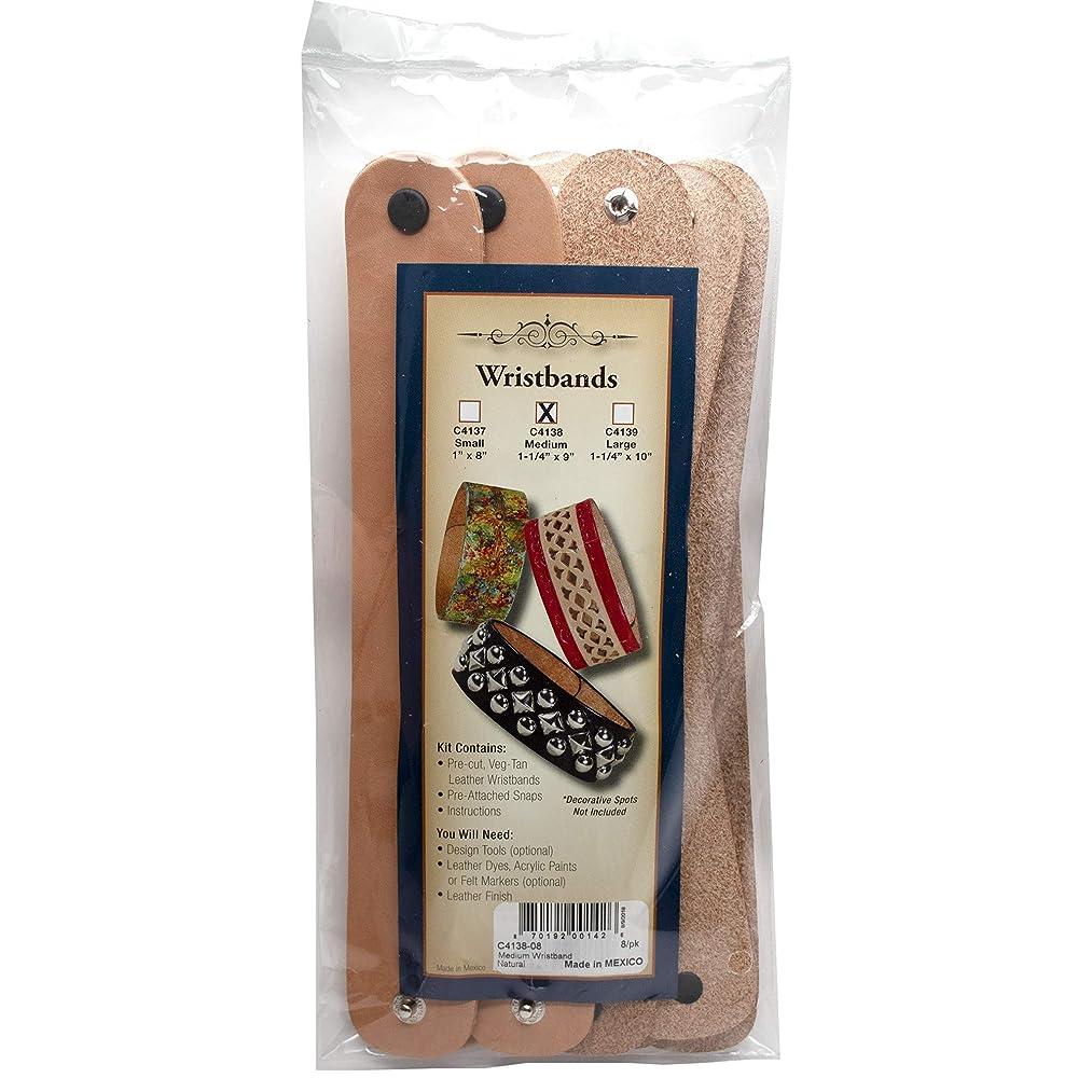 Realeather C4138-08 Medium Leather Bracelet Unfinished, ((Pack of 8)