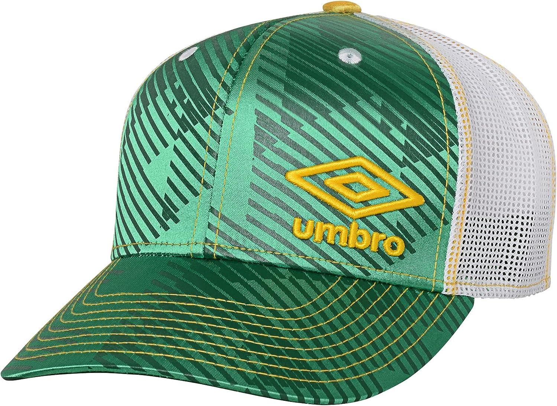 Umbro Men's Low Crown Precurved Snap-Back Adjustable Baseball Cap, Green/Yellow/White