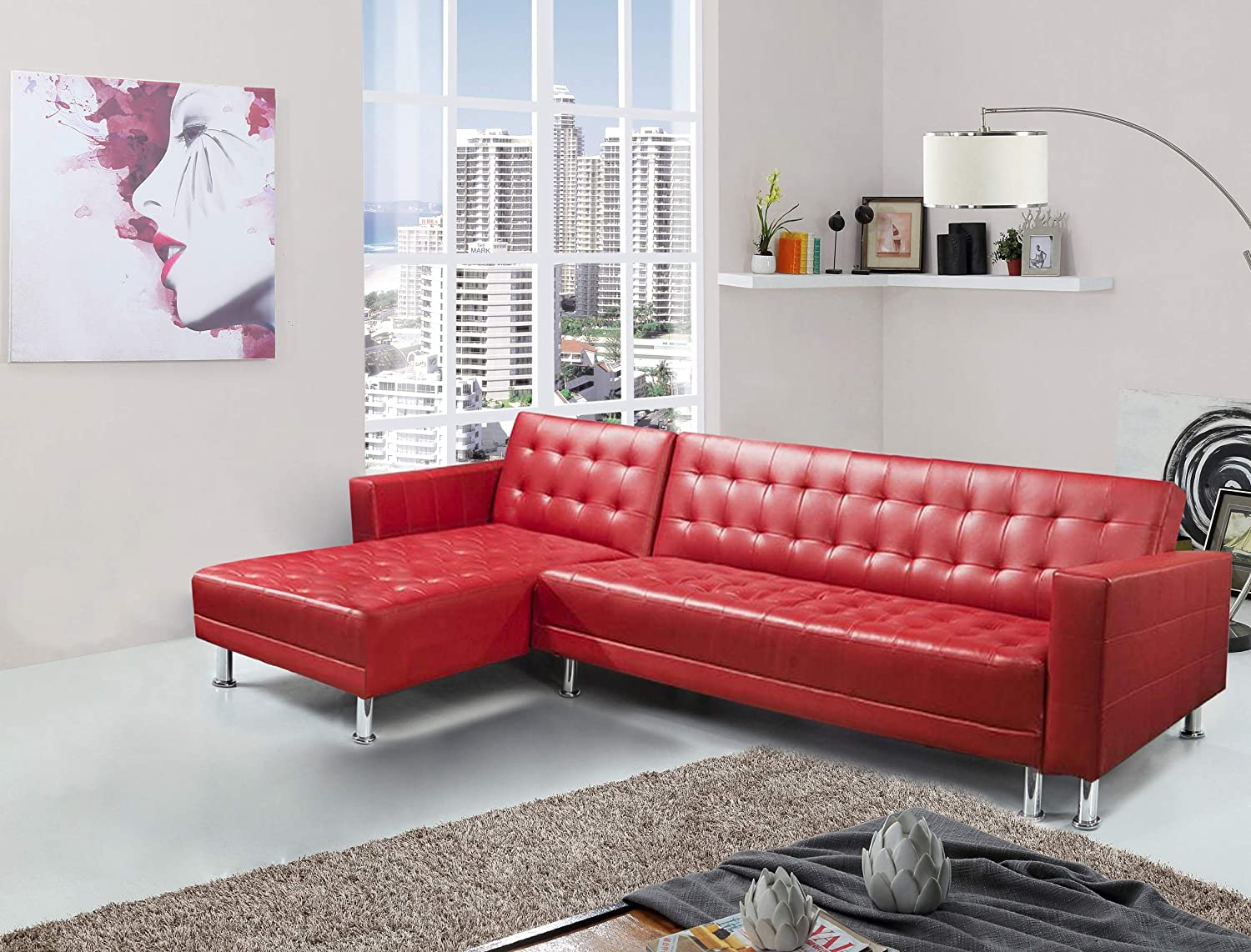 Greatime free shipping Leatherette Convertible Section Popular Red Leathe Sofa Faux
