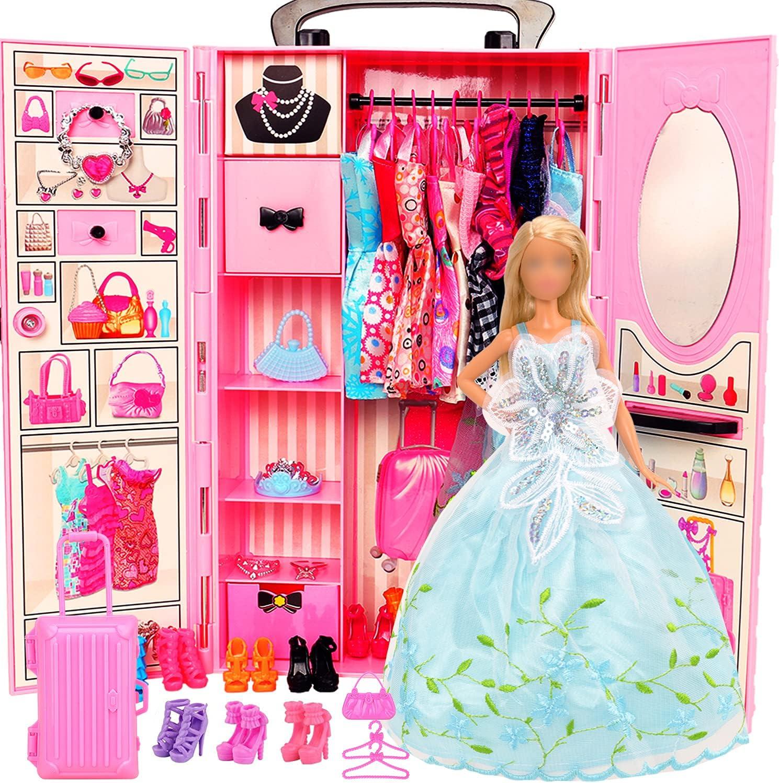 Miunana Lot 69 pcs 11.5 inch Girl Wardrobe Closet Clot Doll 4 Fashionable years warranty with