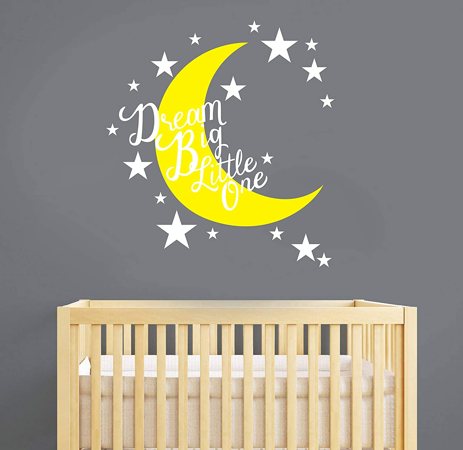 Amazon Com Moon And Star Nursery Wall Decal Dream Big Little One Quote Wall Decals Vinyl Wall Stickers For Baby Kids Boys Girls Bedroom Nursery Decor Y12 Yellow White Home Kitchen