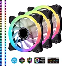 EZDIY-FAB 3-Pack 120mm Silent PWM Addressable RGB Fan with 2LED Strips Motherboard Sync, Adjustable Colorful Fans Controller
