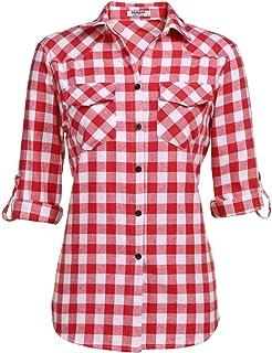 Unibelle Kariertes Hemd Damen Langarm Karohemd Bluse Damen Baumwolle mit Einstellbare Ärmeln