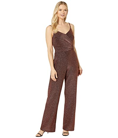 Donna Morgan Metallic Stretch Knit Faux Wrap with Covered Buckled Wide Leg Jumpsuit (Rose Gold/Black) Women