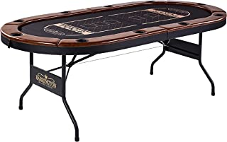 Barrington Charleston Poker Table for 10 Players with Faux Leather Padded Rails and Cup Holders - Black