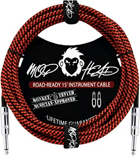 Mophead 15 Foot Double Insulated and Road Ready Braided 1/4in TS to 1/4in TS Guitar and Bass Instrument Cable Straight Angle Black and Red