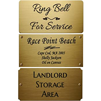 "Size: 4"" W x 2"" H, Personalized, Custom Engraved, Brushed Gold Solid Brass Plate Picture Frame Name Label Art Tag for Frames, with Adhesive Backing or Screws- Indoor Use Only"