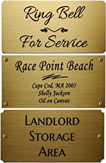 """Size: 4"""" W x 2"""" H, Personalized, Custom Engraved, Brushed Gold Solid Brass Plate Picture Frame Name Label Art Tag for Frames, with Adhesive Backing or Screws- Indoor Use Only"""