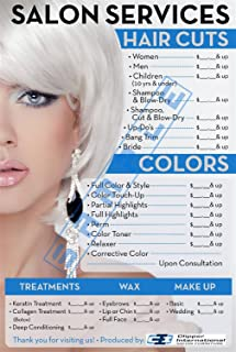 Price List for Beauty Salon by Clipper Int'l Posters - Salon Posters - 36 X 24 Inches -Laminated