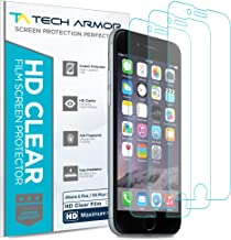 Tech Armor High Definition HD-Clear Film Screen Protector (Not Glass) for Apple iPhone 6 Plus / 6S Plus (5.5-inch) [3-Pack]