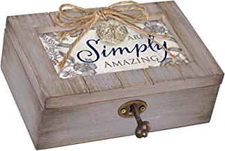 Cottage Garden Simply Amazing Grey Distressed Locket Petite Music Box Plays You are My Sunshine