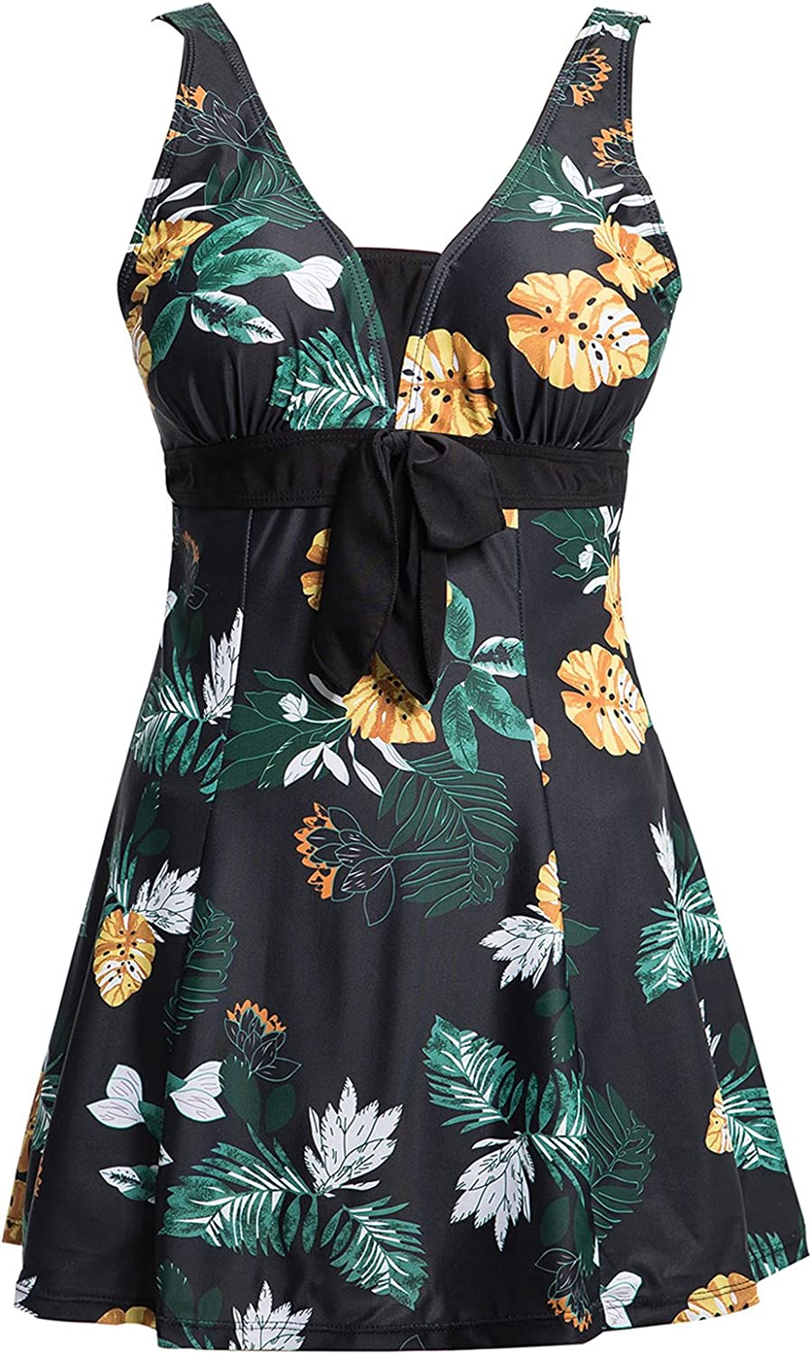 Ecupper Womens One Popular Piece Plus Size Waist Shapping Outlet ☆ Free Shipping Prin High Body
