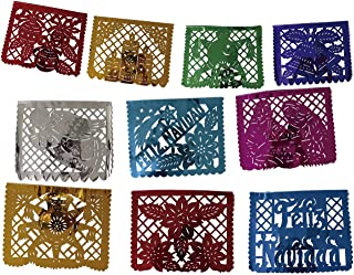 Mexican Papel Picado Xmas Banner - Metallic Plastic 16 ft Handcrafted Christmas Decoration Multicolored – 10