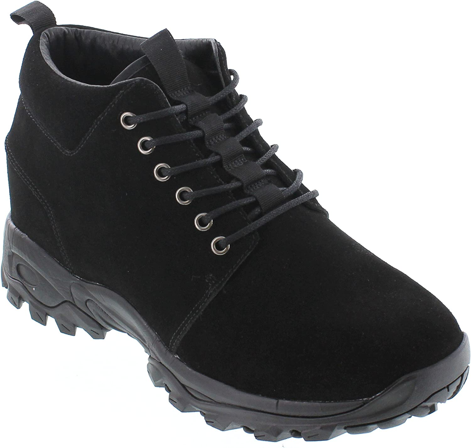 CALTO Men's Invisible Height Increasing Elevator shoes - Black Suede Lace-up Hiking Boots - 3.2 Inches Taller - H7222