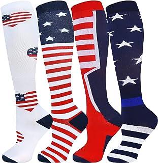 Independence Day Compression Socks for Women & Men, American Flag Stars and Stripes Compression Socks