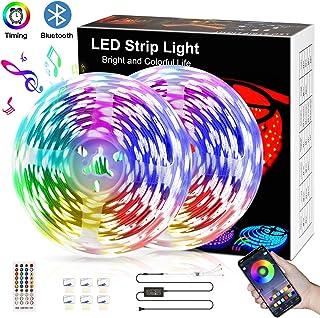 Bluetooth Music LED Strip Lights 32.8ft, Color Chaning LED Light Strips Brighter 5050 LED Multicolor Neon Mood Lights, Smart APP Control,16 Million Colors LED Lights for Bedroom,Room,Kitchen,Party
