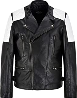 Tom Holland Biker Jacket Black Real Leather White Quilted Shoulder Patch Jacket 2724