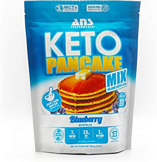 ANS Performance KETO Pancake & Waffle Mix (16 Servings, 16 oz) - Low Carb, Gluten-Free, Paleo, Low Glycemic | Made with Natural Almond Flour, Easy to Make 7g of Protein (Blueberry)