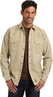 Men's Retro Corduroy Two Pocket Long Sleeve Snap Shirt