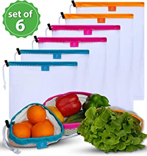 Reusable Mesh Produce Bags - by THE OLIVE COVE- Superior Quality, Colour Coded Storage bags with Tare Weights and Secure Lock Drawstring, Lightweight, Washable, See-Through, Eco friendly 6Pk -S,M,L