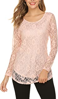 SoTeer Lace Blouse Women's Long Sleeve Casual Loose Boatneck Floral Lace Layered Tops