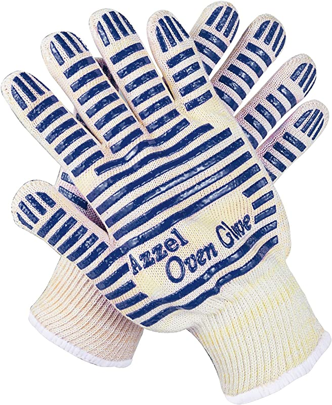 Azzel Glove Resistant Oven Mitts With Fingers EN407 Certified Extreme Heat Up To 932 F Blue