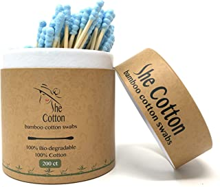 SheCotton Bamboo Cotton Swabs | Natural 100% Biodegradable and Recyclable Buds for Ears | Double Tipped Wooden Makeup Cotton Swabs (200 ct) (Blue)