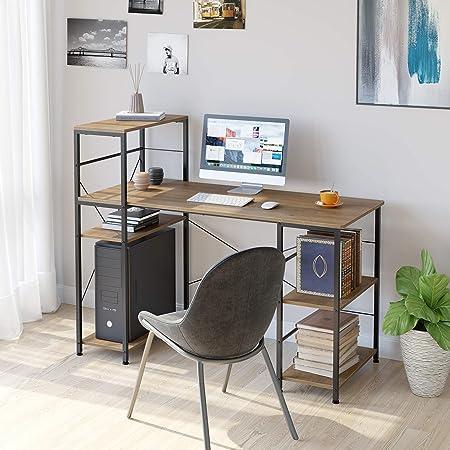 HOMECHO Bureau d'ordinateur avec 5 Étagères de Rangement Table d'étude Poste de Travail Style Industriel Brun 133 x 56 x 110.5cm
