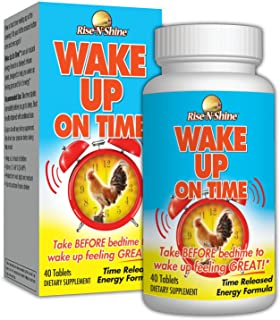 Wake Up On Time Patented Time Released Natural Energy Supplement Taken at Bedtime to Replace The Morning Alarm Clock 40 Count