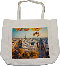 Ambesonne Fall Shopping Bag, Aerial View of Eiffel Tower at Sunset Paris France Cityscape Historical Landmark Image, Eco-Friendly Reusable Bag for Groceries Beach and More, 15.5