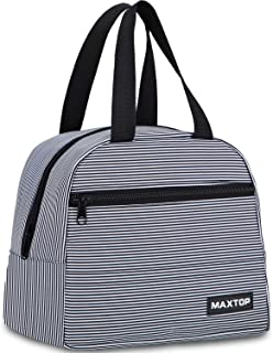 Lunch Bags for Women,Insulated Thermal Lunch Box Bag for Girls With Front Pocket and Inner Mesh pocket, Lunch Cooler Tote Bag Perfect Gift for Kids Adults Work College Picnic Beach Park School