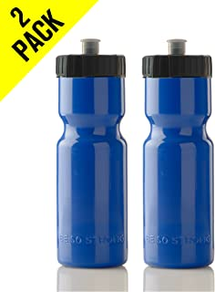 50 Strong Sports Squeeze Water Bottle 2 Pack – 22 oz. BPA Free Easy Open Push/Pull Cap – USA Made - Bottles Fit in Bike Cages - Great for Adults & Kids - Top Rack Dishwasher Safe