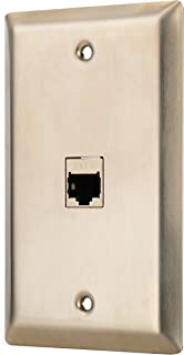 Sancable-1 Port Cat 6 Shielded Female to Female Stainless Steel Wall Plate