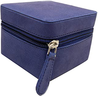 Essart Faux Leather Suede Finish 9.25cm x 9.25xm x 6.50cm Long Cubic Shaped Vanity/Jewellery/Earring Box with Zipp Closure...