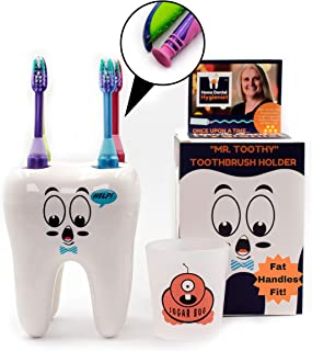 Mr. Toothy Kids Toothbrush Holder with Bonus Sugar Bug Rinse Cup. Tooth Shaped Novelty Child Toothbrush Holder Set. Large Holes. Fits Suction Cup Fat Handled Manual Toothbrush. Fun Story Included.