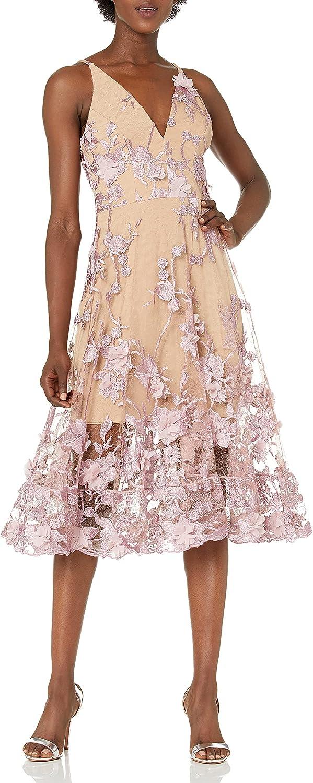 Dress the Population Women's Audrey Spaghetti Strap MIDI A-LINE 3D Floral Dress, Lilac/Nude, M