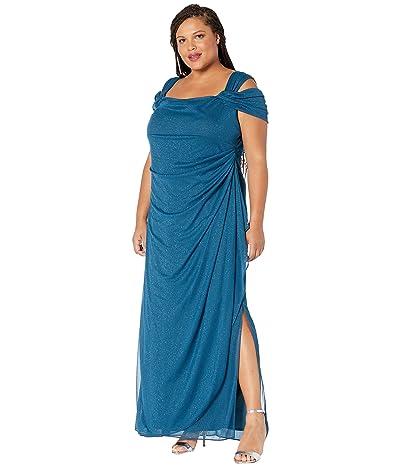 Alex Evenings Plus Size Long Glitter Mesh Cold Shoulder Dress (Peacock) Women