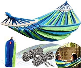 CJ Ultra Outdoors Cotton Fabric Canvas Travel Hammocks with Tree Ropes 450lbs Ultralight Camping Hammock Portable Beach Swing Bed with Hardwood Spreader Bar Tree Hanging Suspended Outdoor Indoor Bed