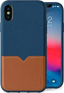 Evutec Compatible with iPhone X or Xs Unique Heavy Duty Case Premium Leather + TPU Shockproof Interior Drop Protective Phone Cover Blue/Saddle (AFIX+ Car Vent Mount Included)
