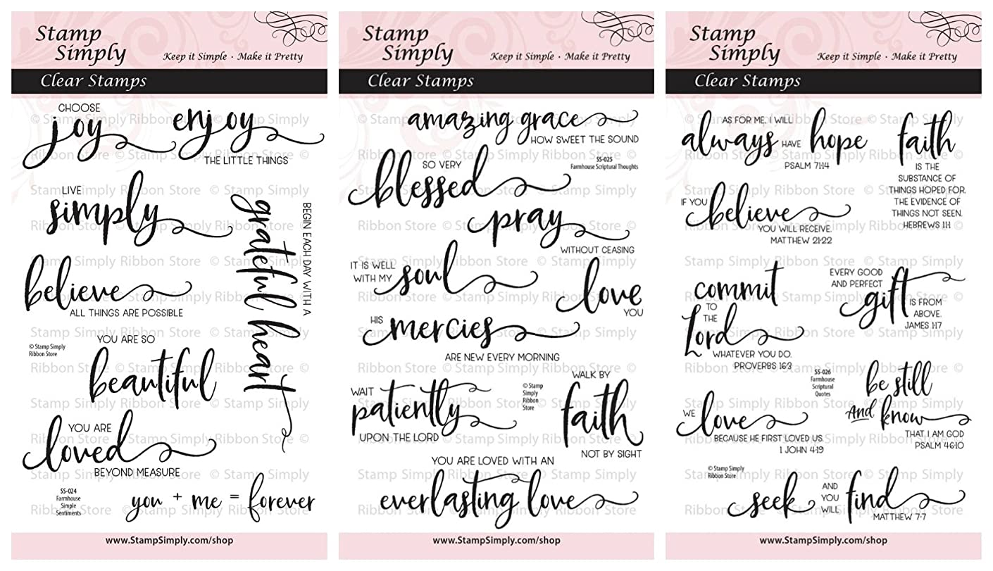 Stamp Simply Clear Stamps Scripture Sentiments Farmhouse Trio Words of Encouragement Christian Religious (3-Pack) 4x6 Inch Sheets - 25 Pieces