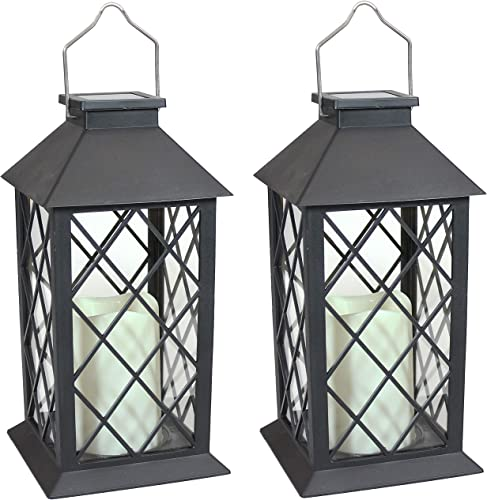 high quality Sunnydaze Concord Outdoor Solar LED Decorative Candle Lantern - Rustic Farmhouse Decor outlet online sale for Patio, Porch, Deck and outlet sale Garden - Tabletop and Hanging Outside Light - Set of 2 - 11-Inch - Black online sale