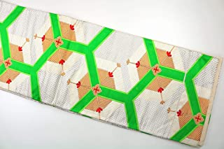 袋帯 正絹(シルク) 変色等 シルバー ホワイト グリーン 昭和レトロ アンティーク ビンテージ リメイク用 着用を想定した販売ではありません