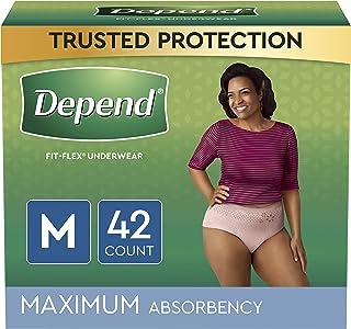 Depend FIT-Flex Incontinence Underwear for Women, Disposable, Maximum Absorbency, Medium, 42 Count