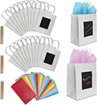 24 White Kraft Paper Gift Bags with Scratch Paper Panel for Customization, Tissue Paper Included! Unique Bulk Paper Bags with Handles are Great as Small Gift Bags, Party Favor Bags & Kraft Paper Bags