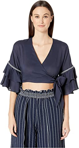 Hawaiian Sarong Ruffle Sleeve Wrap Top