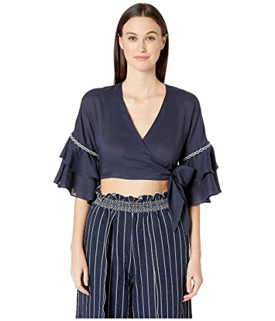 Jonathan Simkhai Hawaiian Sarong Ruffle Sleeve Wrap Top (Midnight) Women