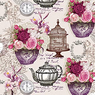 20 servilletas rosas a elementos vintage/brújula/jaula/flores 33 x 33 cm