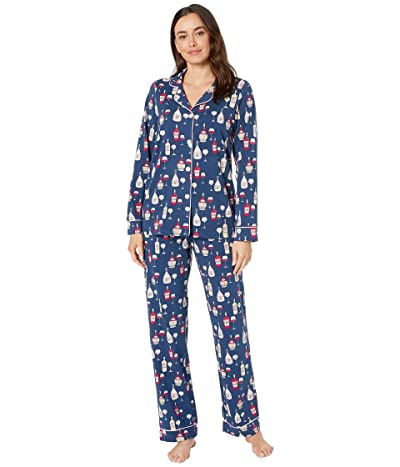 BedHead Pajamas Long Sleeve Classic Notch Collar Pajama Set (Wine Tasting) Women